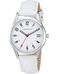 Caravelle Womens Quartz Stainless Steel and Leather Dress Watch, Color:White (Model: 43M117)