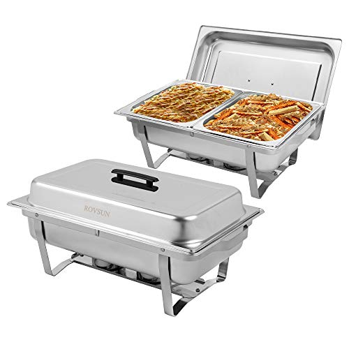 ROVSUN 2 Packs Stainless Steel Chafing Dishes with 2 Half Size Food Pans, Foldable Frame, 8 Quart Rectangular Catering Chafer Set