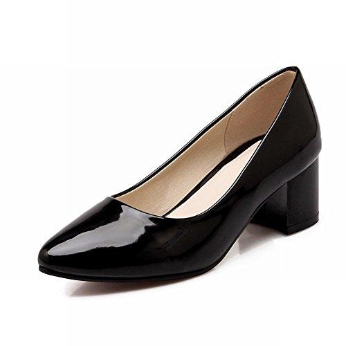 Carolbar Womens Fashion Pekade Tå Lackläder Mitten Chunky Häl Loafers Pumpar Skor Svarta
