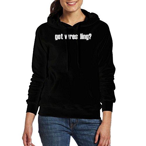 Women Got Wrestling Womens Long Sleeve Simple Style Hoodie Sweatshirt Jumper Hooded Pullover Small by MamieJulia