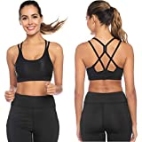 Sykooria 1-3 Pack Strappy Sports Bra for Women Sexy Crisscross Open Back for Yoga Running Athletic Gym Workout Fitness Tops