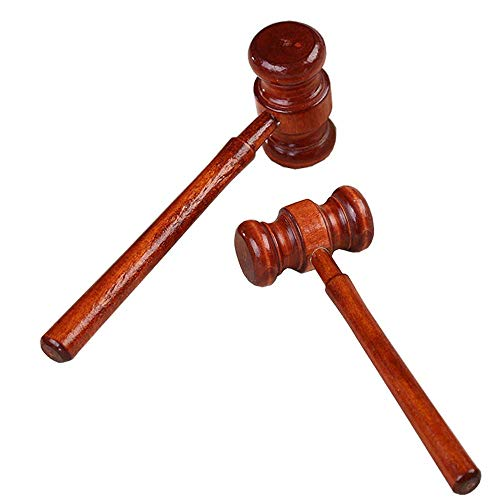 Hammer Judge Costume Wooden Judge Hammere Delicate Wood Handcrafted Gavel for Lawyer Judge Auction Sale Halloween Costume Red One -