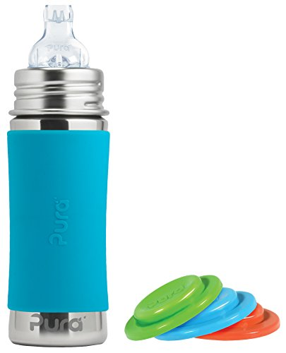 Pura Kiki Stainless Steel Toddler Sippy Bottle with Aqua 11