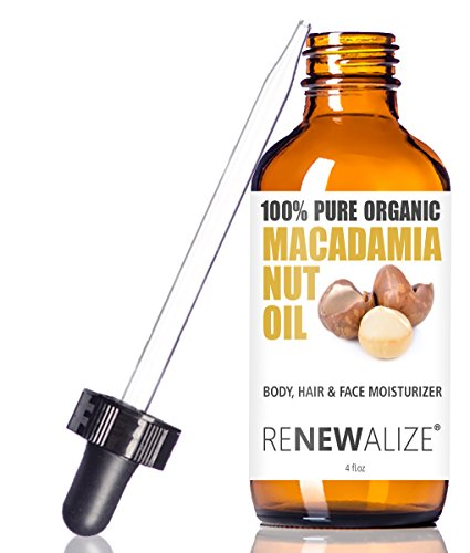Renewalize Organic Macadamia Nut Oil by In Large 4oz Glass Bottle | Cold Pressed and Unrefined Deep Conditioning Natural Hot Oil Hair Treatment for Controlling Frizz | Dry Skin Body Moisturizer (Oil Controlling)