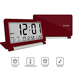 Travel clock,Digital clock,econoLED Multifunction Silent LCD Digital Large Screen Travel Desk Electronic Alarm Clock, Date/Time/Calendar/Temperature Display, Snooze, Folding Black & Silver US (Red)