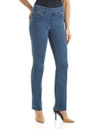 """Rekucci Jeans Women's """"Ease In To Comfort Fit"""" Stretch Straight Leg Denim Pants"""