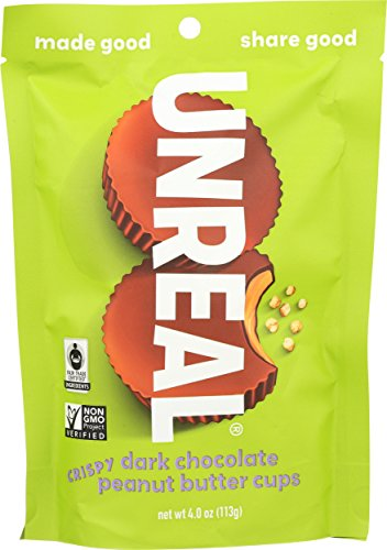 UNREAL Dark Chocolate Crispy Peanut Butter Cups, 4.0 Ounce (Pack of 6)