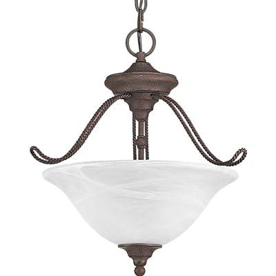Progress Lighting P3467-33 3-Light Semi-Flush Close-To-Ceiling Fixture with Swirled Alabaster Glass, Cobblestone