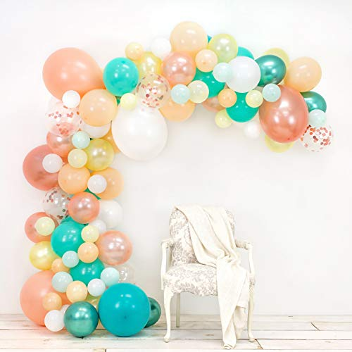 JUNIBEL Balloon Arch & Garland Kit | 90 Blush, Rose Gold Confetti, White, Chrome Sea Foam, Pastel Yellow | Glue Dots & Decorating Strip | Holiday, Wedding, Baby Shower, Anniversary & Party Decorations ()