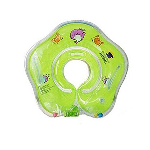 ForuMall Anillo Inflable de Seguridad de Flotador de Delfín de Cuello Accesorios de Baño de Bebé (Verde)