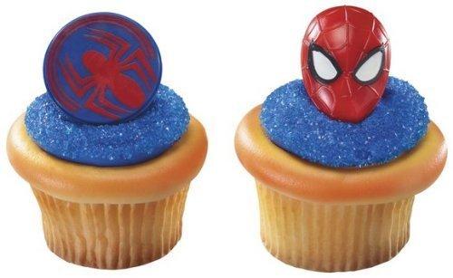 24 ~ Spider-Man Mask & Spider Rings ~ Designer Cake/Cupcake Topper ~ New!!!!! by (Spiderman Cake Ideas)