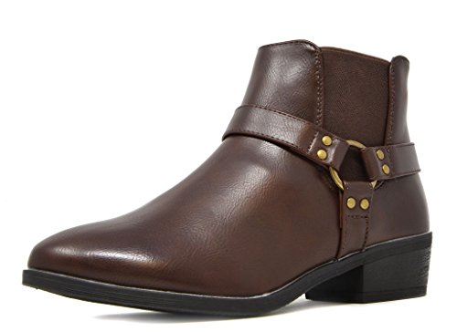 - DREAM PAIRS Women's New Trium Brown Faux Leather Ankle High Chunky Heel Boots Size 11 B(M) US