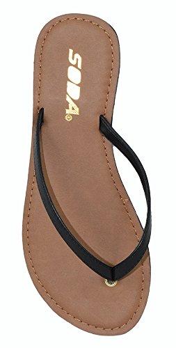 SODA Shoes Women Flip Flops Basic Plain Sandals Strap Casual Beach Thongs FELER Black 6