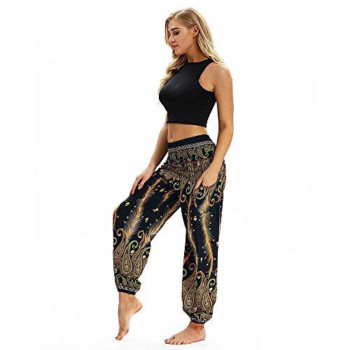 Sunmoot Women Men Casual Loose Boho Print Yoga Pants High Waist Pocket Hippy Baggy Aladdin Harem Elastic Waist Trousers
