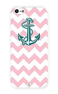 iZERCASE Chevron Pattern Light Pink With Anchor iphone 5 / iPhone 5S case - Fits iphone 5, iPhone 5S T-Mobile, AT&T, Sprint, Verizon and International by icecream design