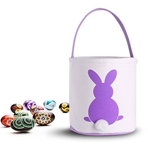 CHICTRY Cute Easter Basket Folding Canvas Bucket Tote Rabbit Pattern Fluffy Tails Design Easter Bunny Bag Kids Toys Storage Bag Purple One - Easter Pattern Basket