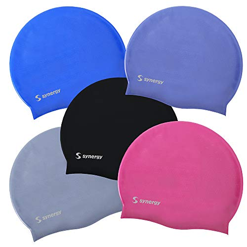 Synergy Silicone Swim Caps 3-Pack (Black-Blue-Silver SL 3-Pack)