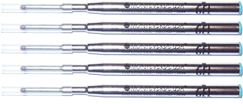 5 pack - Monteverde Ballpoint Refill to Fit Montblanc Twist-Action Ballpoint Pens, GEL Ink, Bold Point (Mont Blanc Ballpoint Refill)