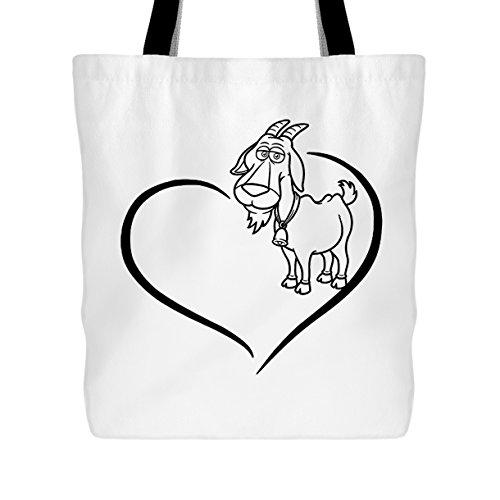 Goat Tote Bag - Goat Heart Handbags Design (White Bag)