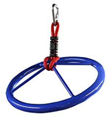 """Twist and turn on the new Ninja wheel. 14"""" diameter powder coated blue steel ring creates a dynamic obstacle to add to our Ninjaline. Includes ring, 10"""" heavy duty nylon rope and Safety delta carabiner."""