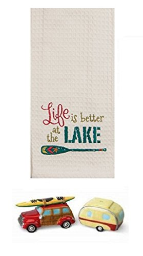 DHE 3 Piece Camping Kayak Lake Kitchen Bundle, Towel with Salt and Pepper Shakers