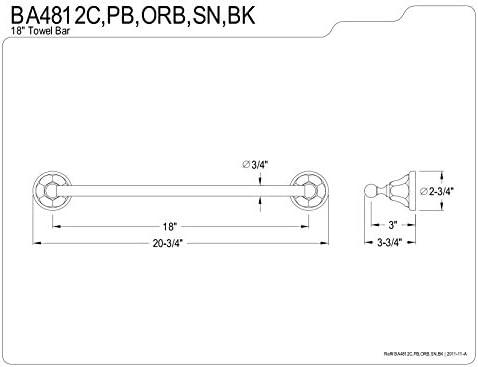 Kingston Brass BAK4181248BK Water Onyx Towel Bar Accessory Set 20-3//4 Length Black Stainless 3 Piece
