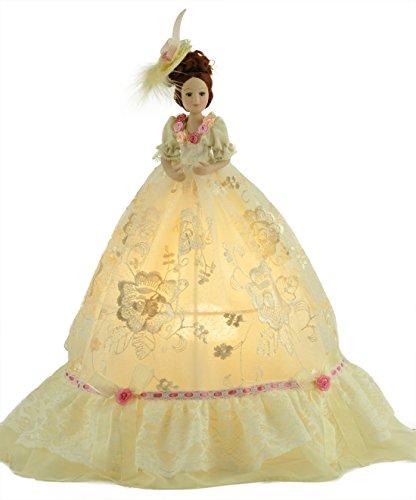 IMEMINE® Cremefarbene Prinzessin Puppe LED Tischleuchte für Kinder Nachttischlampe, Dekorative Leuchten für Prinzessin Schlafzimmer,Kindertischlampe mit Schalter,Rechargeable Lamp AC 110-220V