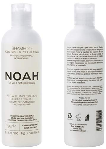 NOAH - 1.4 Hair Regeneration Argan Oil Shampoo - Anti Frizz, Dry and Brittle Hair Repair, Vegan, Cruelty Free, Gentle Scalp - Natural Daily Shampoo 8.45 fl.oz