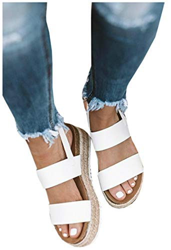 (Women's Open Toe Espadrille Lug Sole Summer Slip on Platform Footbed Slides Sandals)
