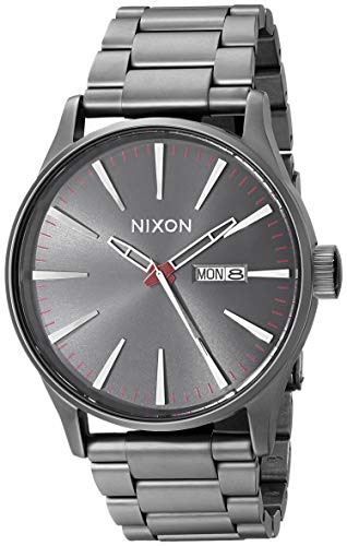 NIXON Sentry SS A361 - Gunmetal - 105M Water Resistant Men's Analog Classic Watch (42mm Watch Face, 23mm-20mm Stainless Steel Band)