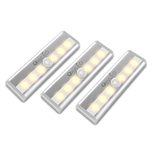 Mini Lights, OxyLED Motion Sensor Light with 6 LED Night Light Bar for Closet Cabinet Wardrobe Ambry Cupboard Drawer Stairs Step, Stick-on Safe Lights Bed Light, 3 Pack, Battery Operated, Warm White