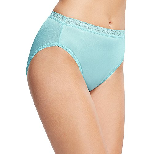 Hanes Women's 6 Pack Nylon Hi-Cut Panties, Assorted, 10