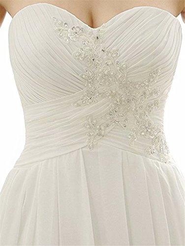 line Dresses Chiffon Appliques Wedding White3 Back Long Beach Corset Sleeveless Strapless Beads Bridal Dresses A Hzwpqd8WH