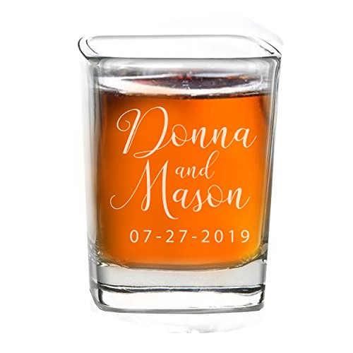 Personalized Shot Glass Wedding Favors - Custom Engraved Take a Shot We Tied the Knot Shot Glasses, Gift for Guests, Couples, Engagement (10) ()