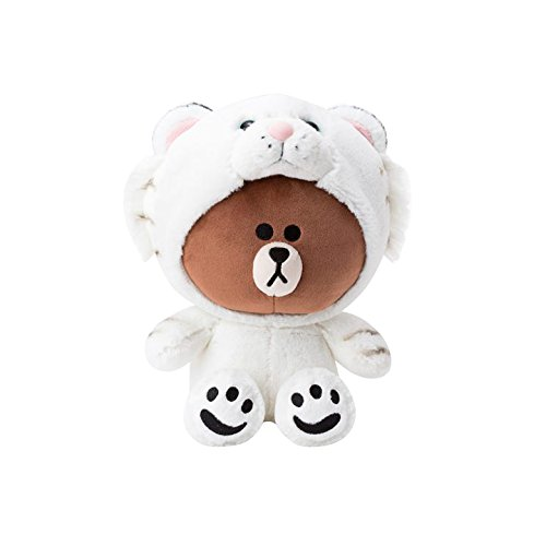 LINE FRIENDS Plush Figure - Snow Tiger Brown Character Cute Soft Sitting Stuffed Doll, 10 Inches (Cute Best Friend Lines)