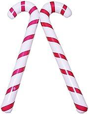 6 stks Opblaasbare Kerst Candy Canes Ballon Jumbo Candy Canes Nieuwigheid Giant Candy Stick Opblaasbare voor Kerst Themafeest Decoratie