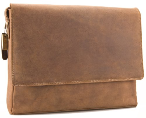 Visconti Hunter - Messenger Bag - A4 Laptop-Tasche - Arbeitstasche - geöltes Antik-Leder - Braun - # 18516 Schlamm Tan 7q0of