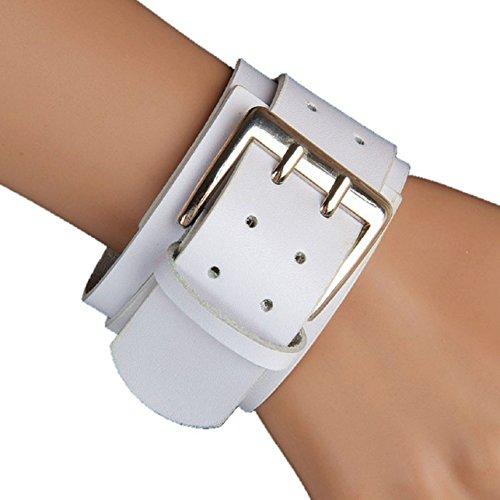 Sandistore Retro Wide Leather Bracelets Punk Exaggerated Big Double Buckle Bracelet (White) (Retro Buckle)