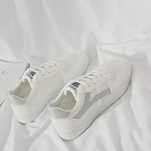 PU Zapatos Deportivos Zapatos Blancos WFCAYDHN pequeños Artificial Tamaño para Estudiantes Forty Planos Zapatos de qpawwPT