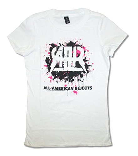 The All American Rejects Splatter Non Tour White Juniors Slim Fit Baby Doll T Shirt (3X)