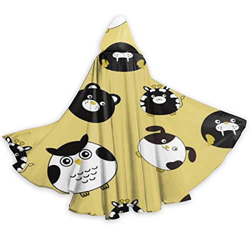 Angry Birds Halloween Costume For Dogs (QBahoe Adult Cape Cloak Angry Owl Cat Bear Seals Unisex Full Length Hooded Robe Cloak Long Cape Cosplay)