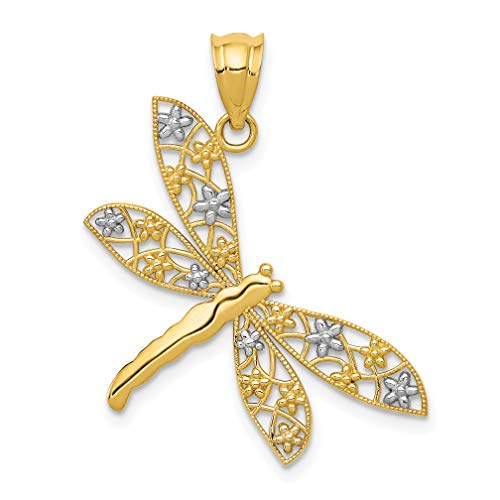14k Two-Tone Yellow Gold Dragonfly Pendant With Flower Accents 28x25mm
