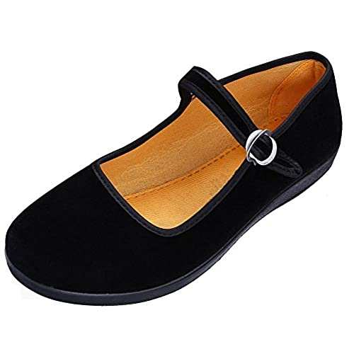 Maybest Women s Velvet Mary Jane Shoes Black Ballerina Cloth Flats Yoga  Exercise Dance Shoes free shipping 67c10d67f