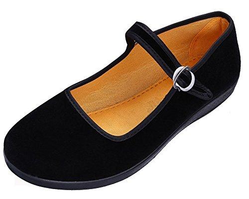Maybest Women's Velvet Mary Jane Shoes Black Ballerina Cloth Flats Yoga Exercise Dance Shoes Black EU 40/ 8 B (M) (Velvet Ballerina Women Flat Shoes)