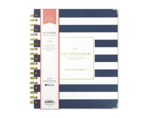 Day Designer for Blue Sky 2019 Weekly & Monthly Planner, Hardcover, Twin-Wire Binding, 8