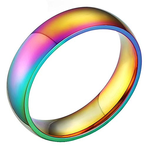 Rainbow Wedding Bands Classic 6MM Titanium Stainless Steel Colorful Gay Lala Promise Band Rings High Polished Finish Comfort Fit Size ()