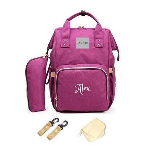 PERSONALIZED Large Diaper Bag Knapsack/Tote bag/Backpack/Messenger Bag/Shoulder Bag -Custom Monogram Embroidered for infant/Baby Bag/Baby Gift (Purple) (Diaper Bags Name Baby)