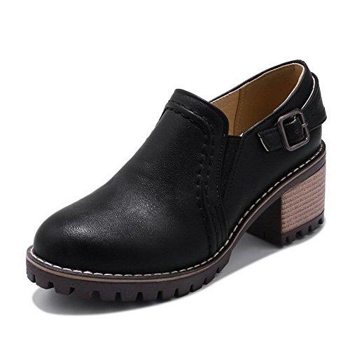 AllhqFashion Mujeres Sin Cordones Tacón Medio PU Sólido Puntera Redonda Zapatos de Tacón, Negro, 37