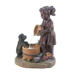 Garden Fountains, Bucket Fiberglass Light Outdoor Cascade Water Fountain Pump