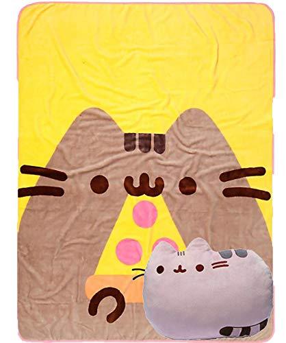 The Neko Cafe Pusheen Eating Pizza Throw Blanket and Pusheen Reversible Plush Cat Pillow